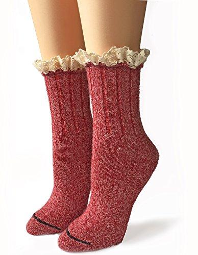 Warrior Alpaca Socks - Ladies Alpaca Wool, Lace Trimmed Ankle Socks