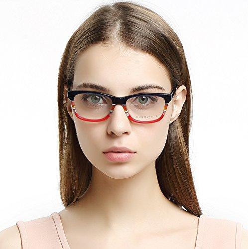 - OCCI CHIARI Women Rectangle Striped Non-Prescription Eyeglasses With Clear Lens CEINO (Blue/Red, 53)