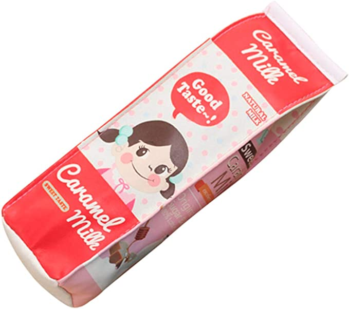 WEFOO Set of 3 Cute Milk Cartons Waterproof PU Big Capacity Pencil Case Cute Milk Shape Pencil Bag Case Holder for Office College Girl Women Adult Teen