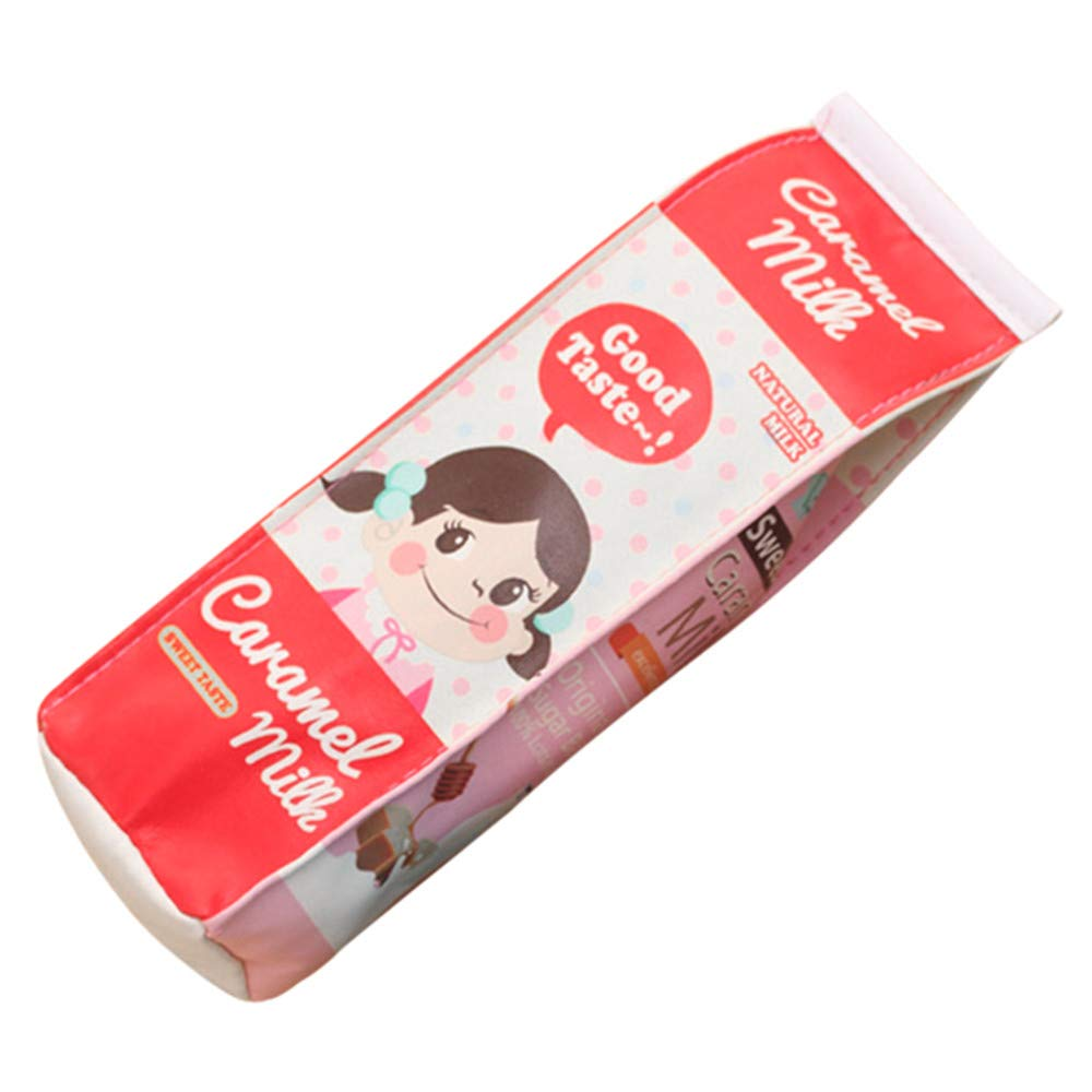 Funny live Cute Milk Shape Pencil Case, Large Capacity Milk Carton Pencil Cases Cosmetic Bag Waterproof PU Pencil Holder Pen Pouch Stationery Organizer (Pale Red)