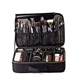 ROWNYEON Makeup Case Travel Makeup Bag Train Case Professional Portable Cosmetic Makeup Brushes Organizer Case Cosmetic Artist Storage Bag for Women EVA Adjustable Dividers 14.1'-14.6'' Medium Black