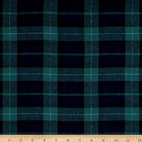 Newcastle Fabrics Yarn Dyed Flannel Plaid Hunter/Navy Fabric By The Yard (Oz 5 Shirt Flannel)