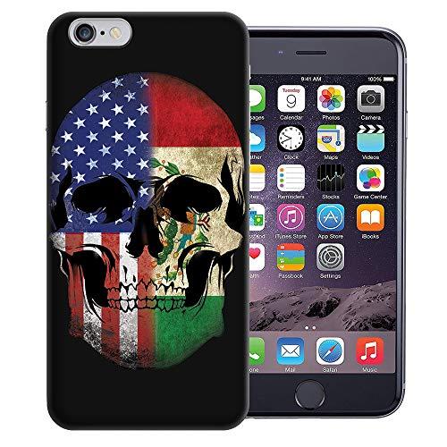 MUNDAZE for Apple iPhone 6s & iPhone 6 4.7 Inch UV Printed Design Case - USA Mexico Flag Skull Design TPU Gel Case Cover