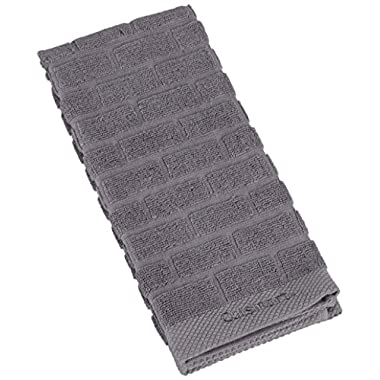 Cuisinart Sculpted Subway Tile Cotton Terry Absorbent Kitchen Towel, Grey