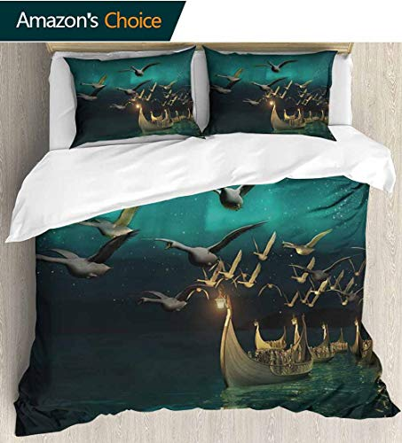 Fantasy 3 Piece Quilt Coverlet Bedspread,Medieval Elf Boats and Magical Birds Swans Flying Mystical Adventure Illustration All Season Lightweight Colorblock Kids Bedding Set 87