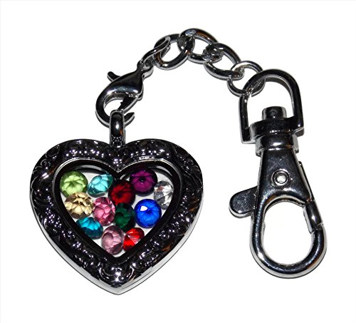 Floating Locket Ornate Heart Keychain Birthstone Kit Set of 12 Birthstones Love (Ornate Locket)