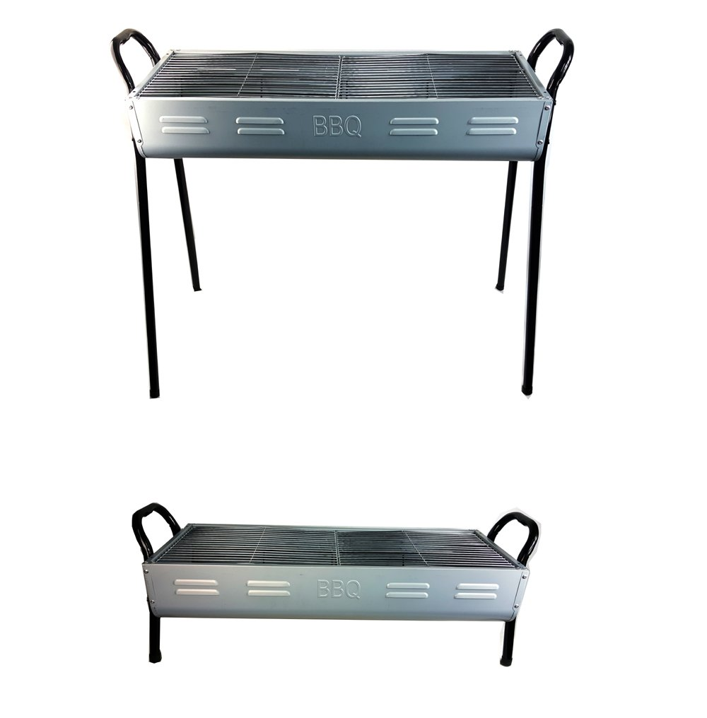 2 IN 1 Charcoal BBQ Silver Color Camping Grill Portable Barbecue Pits STAREX HZA-7702