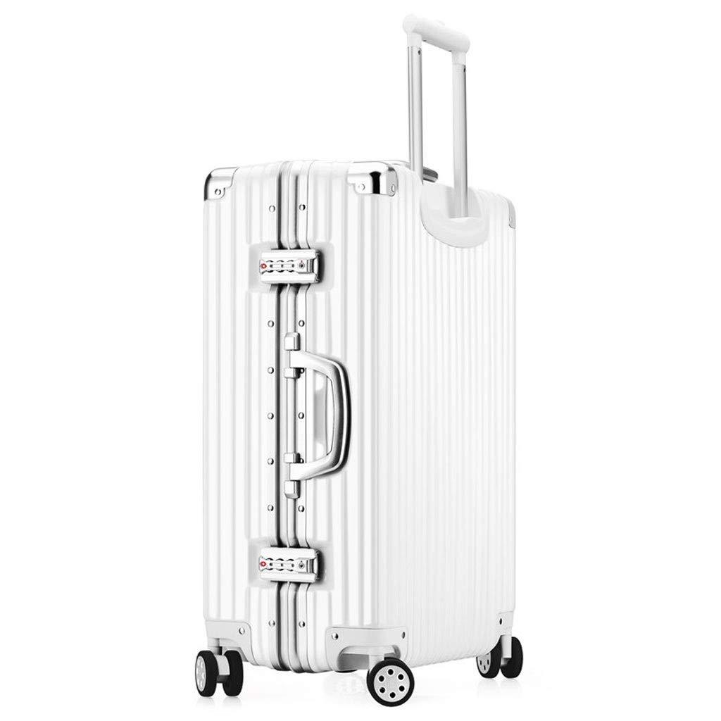 ZXXZ トロリーケース- 人および女性のためのアルミニウムフレームの直角のトロリー箱、普遍的な車輪の荷物のスーツケースのロック箱 (Color : White, Size : 26in) B07TZV89TQ White 26in