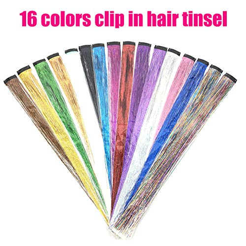 Coloured Glitter - UPTO 16Pcs Hair Tinsel Strands Colored Hair Tinsel Kit Hair Dazzle Glitter Extensions Sparkling Shiny Hair Flairs Silk Clip on in Hair Extensions Multi-Colors Hair (19.7 inch, 16 colors clip in)