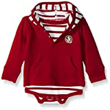 NCAA Florida State Seminoles Children Unisex Stripe Hooded Creeper,6Mo,Crimson