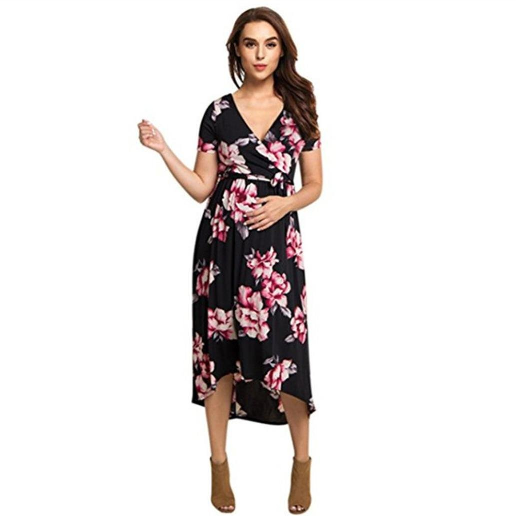 187440f6096a Voberry@ Women's Maternity Dress, Pregnancy V Collar Short Sleeve Sundress  Dress: Amazon.in: Clothing & Accessories