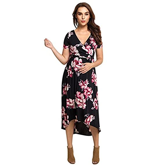 05d20874994 Voberry@ Women's Maternity Dress, Pregnancy V Collar Short Sleeve Sundress  Dress Small Black