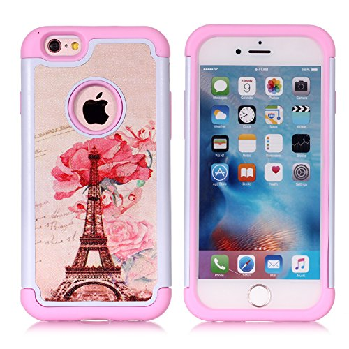 Tech Tower - iPhone 6S Case,iPhone 6 Case - Paris Eiffel Tower Pattern Shock-Absorption Hard PC and Inner Silicone Hybrid Dual Layer Armor Defender Protective Case Cover for Apple iPhone 6 iPhone 6S