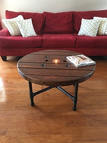 Brilliant Amazon Com Industrial Wooden Coffee Table With Pipe Legs Machost Co Dining Chair Design Ideas Machostcouk