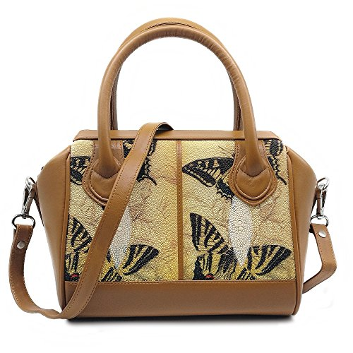 Stingray Genuine Leather Shoulder Bag Or Carry Handbag (Big Butterfly) by Treasure