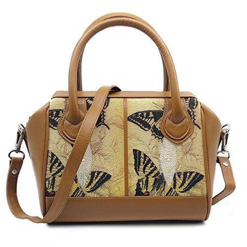 Stingray Genuine Leather Shoulder Bag Or Carry Handbag (Big Butterfly) by Treasure