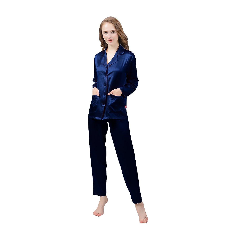 LULUSILK Damen 22 Momme Langarm Seide Pyjama Set Nachtwäsche Schlafanzug Set