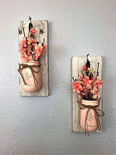 Set of 2 Peach Breeze Mason Jar Wall Sconces Floral - Jar Peach