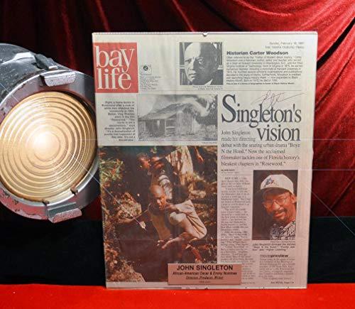 (Rare JOHN SINGLETON, Signed Original Autograph, Frame, Plaque, Boyz n The Hood, COA UACC DVD Films. 1958-2019 RIP)