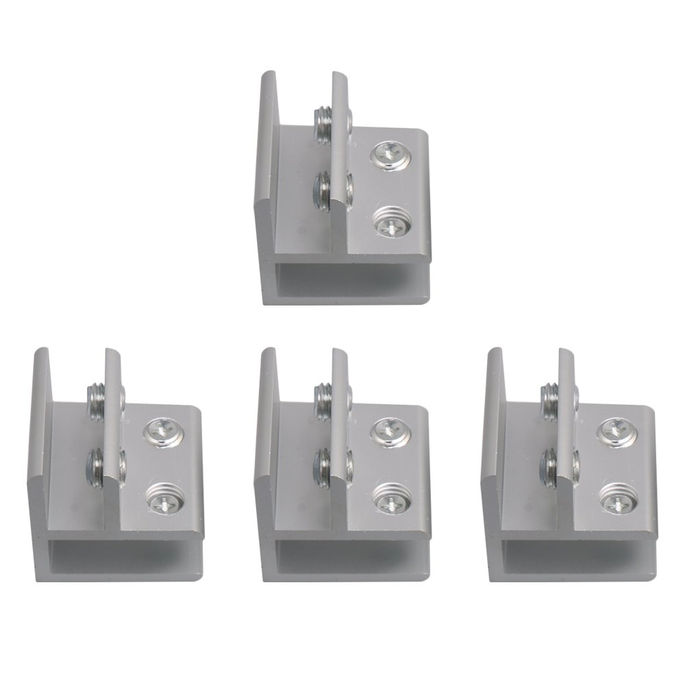 RDEXP 90 Degrees Aluminum Alloy Glass Clamp Holder Bracket Clamp Cabinet Cupboard for Glass 9-12mm Thickness Set of 4