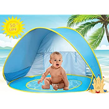 Baby Beach Tent Pool UV Protection Sun Shelter Pop Up for Kids - Blue Yellow  sc 1 st  Amazon.com : baby spf tent - memphite.com