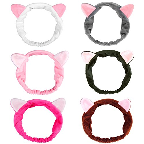 6 Pack Dreamlover Elastic Velvet Cat Ear Headband, Adorable and Comfortable Cat Ear Hair band, Makeup Cosmetic Facial Cleansing Beauty Headband for Girls and Women -