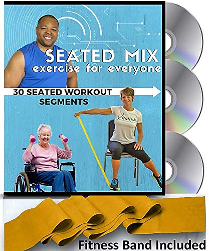 SEATED MIX CHAIR EXERCISE FOR SENIORS- 3 DVDs + 30 Exercise Segments + Resistance Band. Most Comprehensive Chair Exercise DVD for Seniors Available! Finally- Fun Chair Exercises for Seniors DVD! (Fitness Band Sync)