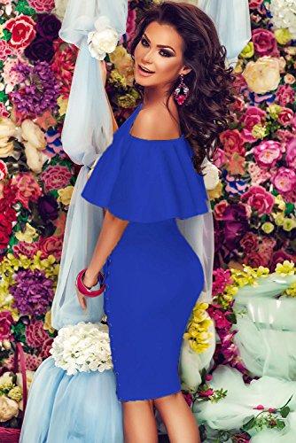NEW Mesdames élégant bleu royal Off épaule Mini robe Bodycon Club Wear Robe Soirée Taille M UK 12EU 40