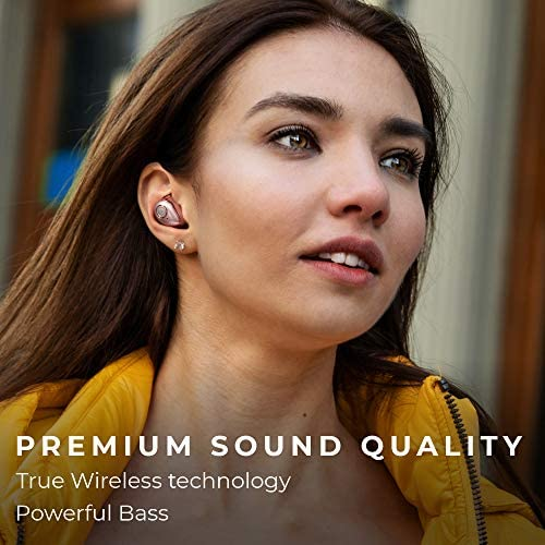 Raycon The Performer E55 True Wireless Bluetooth Earbuds - Bluetooth 5.0 Deep Bass in-Ear Headphones with Wireless Charging and Built-in Microphone Rose Gold
