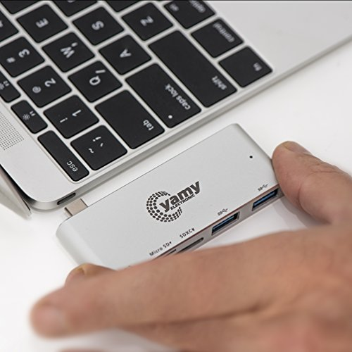 C-yamy Aluminum Charging Multi Hub USB-C,5-in-1 Adapter, Power Delivery & 2 USB 3.0 ports, SD Memory card Port,Tf/MicroSD Memory Card for All-new MacBook and Pro, All USB-C Devices (Silver) by c-yamy (Image #3)'