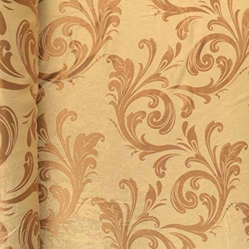 Gold Velvet Jacquard Damask Fabric 118'' Wide sold By The Yard for Curtains, Drapery, Upholstery (901-3)