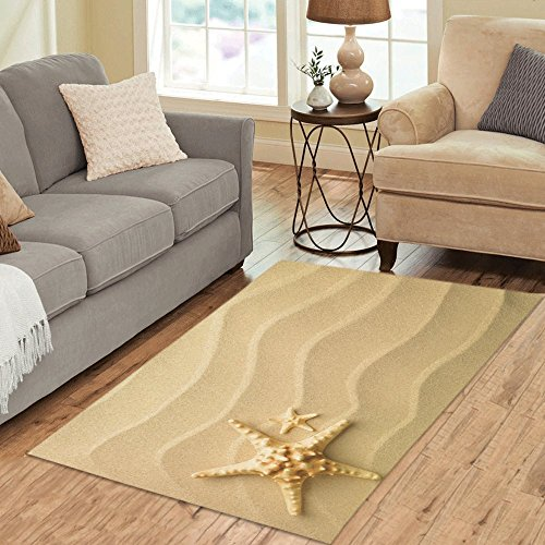 InterestPrint Seashells Starfish Area Rug Floor Mat 5' x 3'3