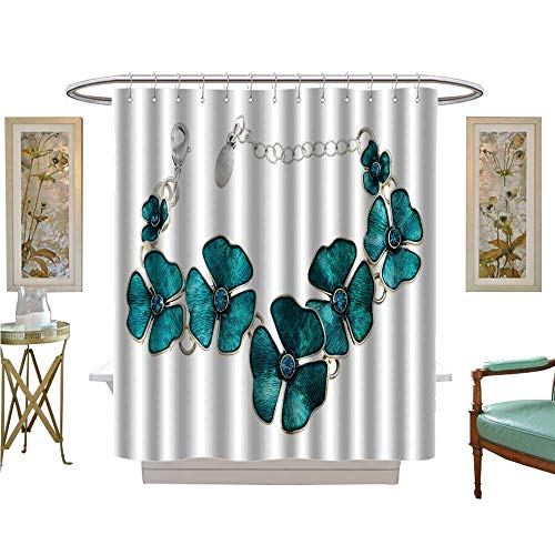 luvoluxhome Shower Curtains Sets Bathroom Bracelet on a Chain of White Metal Bathroom Set with Hooks W69 x L70