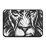 HOMESTORES Non Slip Coral Velvet Bathmat Absorbent Bath Rugs 17x24 Inch Memory Foam Bath Mats With Anti-Skid Bottom - Angry Lion King White And Black Art