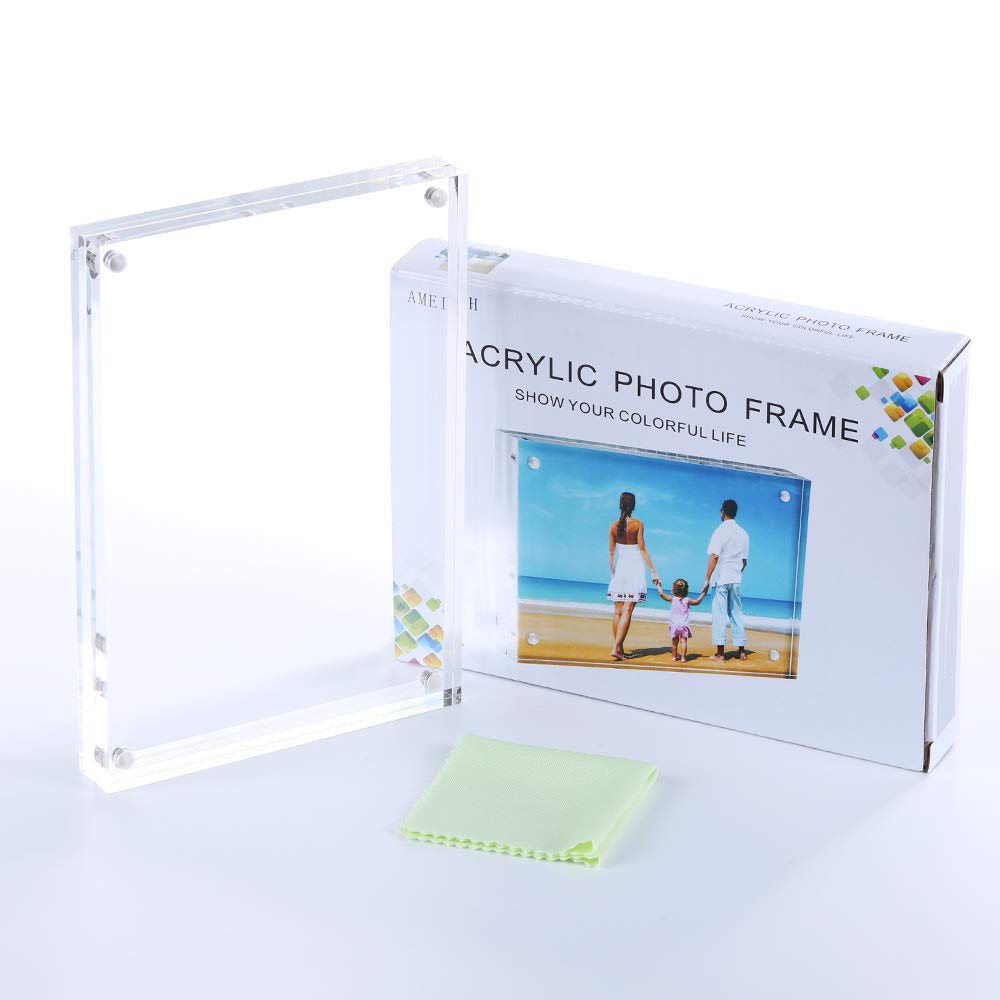 AMEITECH Acrylic Picture Frames, 4x6'' Clear Double Sided Block Set, Desktop Frameless Magnetic Photo Frame (5 Pack) by AMEITECH (Image #7)