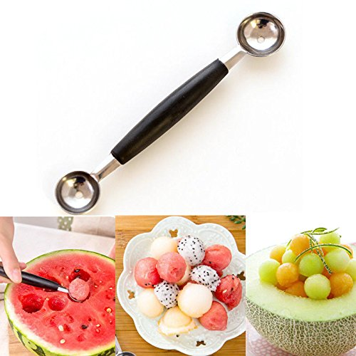 Fruit Costume Forbidden (Dual Double-end Melon Baller Scoop Stainless Steel Fruit Spoon Ice Cream Dessert Sorbet Kitchenware Cook)