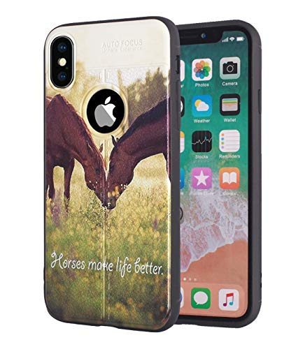 iPhone X Case,iPhone Xs Case, Premium TPU [Leather Texture Design] Ultra Thin Flexible Shock Absorbent Silicone Rubber Protective Cover for iPhone X/iPhone Xs (5.8 inch) - Horse