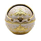 TOWOMO Portable Cigarette Cigar Ashtray Antique Sophisticated Engraved Embossing Europe Wind-proof Art Decorative Ash Holder Table Home Bar Decor - Golden Rose Flower