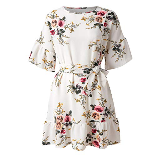 2019 Cocktail Dresses for Women 2 Piece, Women Summer Ruffles Floral Printing Short Sleeve Dress Evening Party Dress -