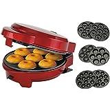 Macchina 3 in 1 per ciambelle, muffin e popcake, 3 piastre intercambiabili, colore rosso metallizzato.