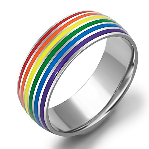 Stainless Steel Rainbow Ring for Men and Women - 7