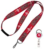 WinCraft NBA Houston Rockets Id Holder Double Combo 1 Premium badge reel, 1 Lanyard with safety breakaway