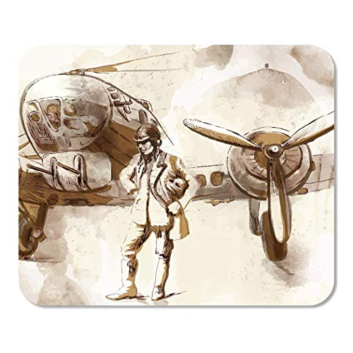 Suike Mousepad Computer Notepad Office Vintage from The Series World Between 1905 1949 Pilot Aircraft Bomber Stands Home School Game Player Computer Worker 9.5x7.9 Inch ()