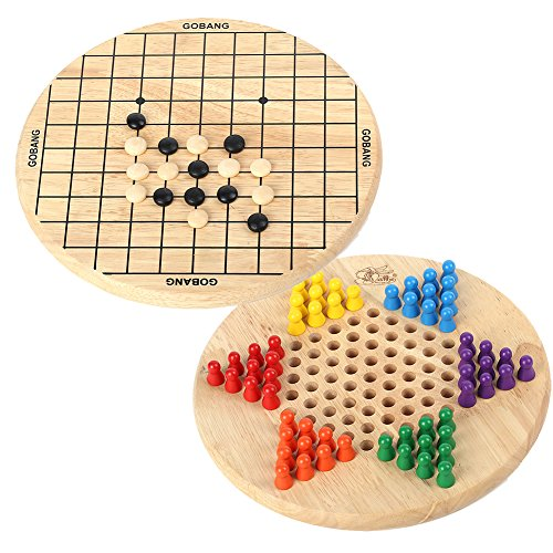 Wondertoys 2 in 1 Chinese Checkers & Gobang (Five in a Row) Wooden Family Game