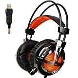 GW SADES AW30 Wired USB Stereo Gaming Headset Over Ear Headphones with Mic Physical Vibration Volume Control LED Lights for PC Game Play(Black/Orange)