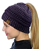 C.C BeanieTail Soft Stretch Cable Knit Messy High Bun Ponytail Beanie Hat, Confetti