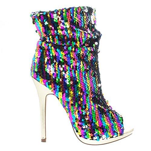 Sequin Peep Toe Platform - Liliana Maxim-12 Multi Color Sequins Peep Toe High Heel Above Ankle Bootie,Rainbow,6.5