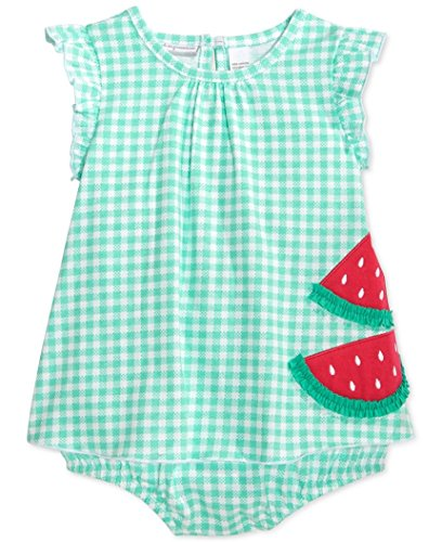 First Impressions Baby Girls Sunsuit (6-9 Months, Green (Gingham Sunsuit)