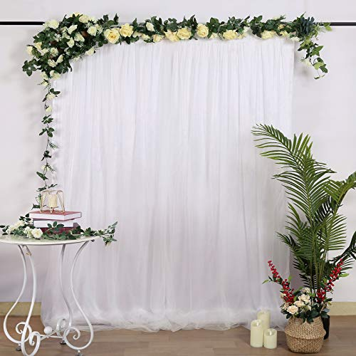 White Tulle Backdrop Curtains 5ftx7ft Wedding Chiffon Backdrop Panel Sheer Backdrop Ceremony Arch Stage Decoration