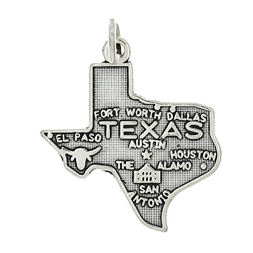 (Sterling Silver Oxidized State of Texas Map Charm)